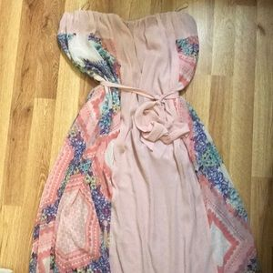 Forever 21+ pink floral strapless maxi dress
